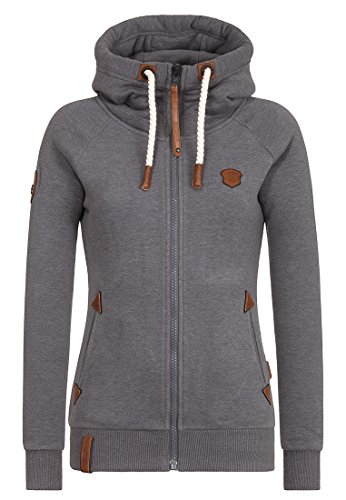 Naketano Blonder Engel IV Damen Kapuzenjacke, Dark Grey Melange, S