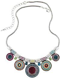 Tonsee® Ethnique Argent Vintage Choker Collier Mode collier plaqué coloré Déclaration Pendant Bead