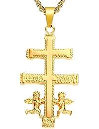 c14107bfc9c0 BOBIJOO Jewelry - Grand Pendentif Croix de Caravaca Protection Acier  Argenté Plaqué ...