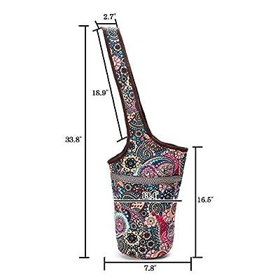 Yoga-Matte-Tasche, Übungs-Yoga-Matte-Riemen-Träger, beiläufiger Mode-Segeltuch-Yoga-Beutel-Rucksack mit der großen Reißverschlusstasche gepasst den meisten Größenmatten
