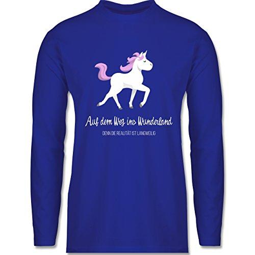 Shirtracer Statement Shirts - auf dem Weg ins Wunderland - Herren Langarmshirt Royalblau