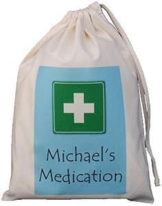 Personalised - Medication Storage Bag - BLUE DESIGN - Small Natural Cotton Drawstring Bag - SUPPLIED EMPTY
