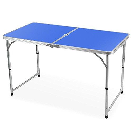 Yahee Aluminium Klappbarer Campingtisch Reisetisch Flohmarkttisch ALU, klappbar 120cm x 60cm x ca. 55 cm - 68 cm (Blue)