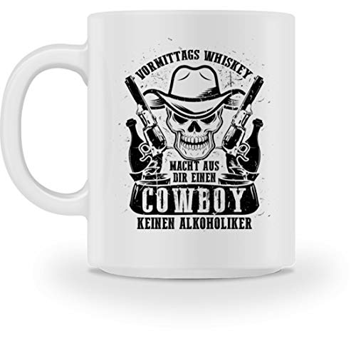 shirt-o-magic Feiern Party: Vormittags Whiskey = Cowboy - Tasse -M-Weiß