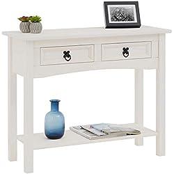 IDIMEX Console Rural Table d'appoint en Bois Style Mexicain avec 2 tiroirs, en pin Massif lasuré Blanc