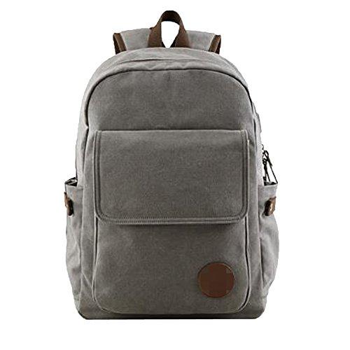 ADEMI Männer USB-Ladeanschluss Student Tasche Rucksack Reisetasche Computer Tasche Canvas Rucksack,Grey-M