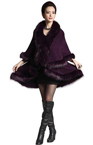 PLAER Femmes Mode Faux Fox fourrure Cape en laine mélangée Manteau Cape cape en tricot Violet
