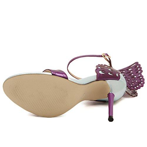 Oasap Women's Peep Toe Butterfly Ankle Buckle High Heels Sandals golden