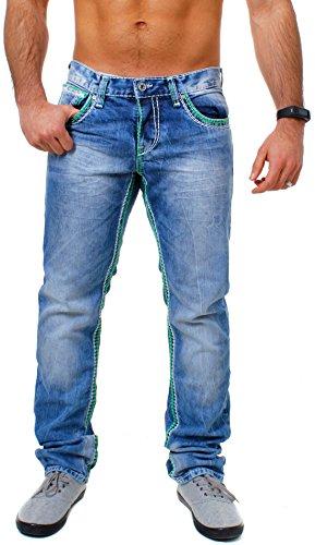 Amica Herren denim Jeans Hose straight leg gerade Passform vintage look mit Kontrastnähte Blau / Grün-Weiß