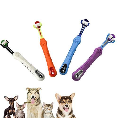 Hemore Cepillo de Dientes para Mascotas de Tres Caras, Cepillo de Dientes de Limpieza Completo para Perros, Cuidado Dental, Tartar, cómodo, Cepillo de Dientes para Mascotas, Azul