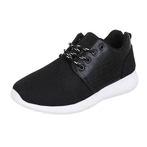 Low-Top Sneaker Damenschuhe Low-Top Sneakers Schnürsenkel Ital-Design Freizeitschuhe Schwarz 4