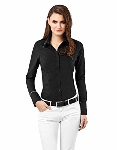 Vincenzo Boretti Damen Bluse tailliert 100% Baumwolle bügelfrei Langarm Hemdbluse elegant festlich Kent-Kragen auch für Business und unter Pullover schwarz 34 -