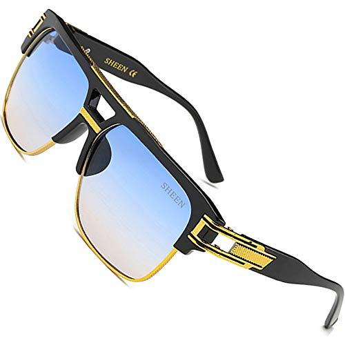 SHEEN KELLY Große Retro Oversized Sonnenbrille Metall Rahmen brille Square herren damen Luxus Eyewear hälfte frame piloten Gold UV400 Schrittweise Blau