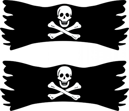 Sticker Flag with skull 2 pieces transparent each 65 x 140 mm