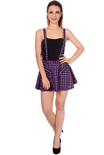 Banned Apparel Highlife Grembiulino Tartan a quadri plaid mini gonna viola Purple Medium
