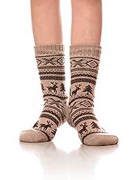 DOFUN Women's Fleece Lining Knit Christmas Knee Highs Stockings Snowflake Slipper Socks