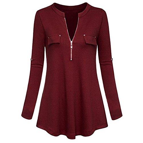 TEBAISE Herbst Räumungsverkauf Mode Lässig Frauen Büro Formale Elegante Schlanke Tasche V-Ausschnitt Langarm Roll-up Sleeve Zipper Shirt Bluse Tops Jumper(Weinrot,EU-46/CN-XL)