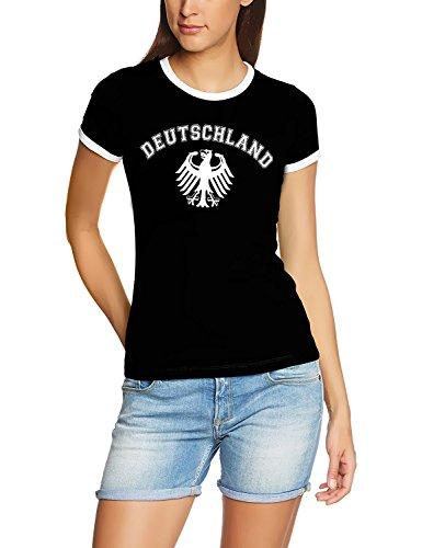 Deutschland Adler T-Shirt EM 2012 T-Shirt schwarz_RIGI DAMEN RINGER Gr.L (T-shirt Weiße Ringer Damen)