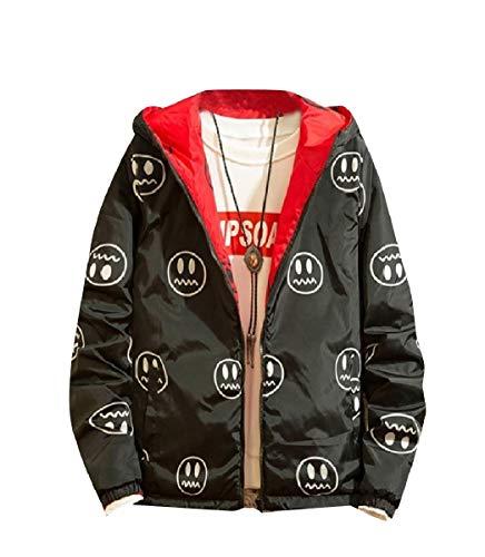 CuteRose Men Hoode Reversible with Zips Camouflage Color Jackets Coats Black 3XL Boy Down Reversible Winter Jacket