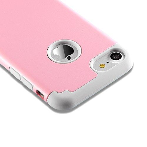 Coque iphone 8 & iPhone 7,coque 2 en 1 Bumper [Dual Layer] en PC et TPU silicone [Hybrid Defender] Etuis Housse Extreme Protection pour iphone 8 & iPhone 7 (4.7 Inch)(Blanc+Gris) rose gris coque