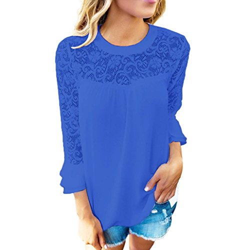 Challeng Damen Lange Ärmel T-Shirt,Tops Damen,Oberteile Frauen Sommer,Elegante Blusen Damen, Damen 3/4 Ärmel Rüschen Tops,Damen Stickerei Spitzenhemd Bluse T-Shirt (S, Blau)