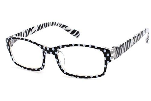 4sold (TM Slim Lesebrillen Retro Black, Brown dunkelbraun +1.5 or +2.00 or +2.5 or +3.0 or +3.5 or +4.00 (Zebra White Black, 2.00)