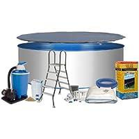 Pool Royal forma circolare Ø 4,00m x 1,20m 0,6mm con parete di acciaio, Pellicola proteggi schermo blu 0,6mm con fondo cuneo piega per telo in tessuto non tessuto Eco Solar System in acciaio inox scaletta 2X 4gradini con piattaforma (Variante a scelta) Filtro a sabbia Flow da 7con quarzo 7,0m³/h Filtro sabbia 25kg Skimmer e tubo Set di collegamento