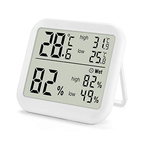 Opard Thermometer und Hygrometer, Thermo-Hygrometer mit Max/Min Rekorde, Innen Digital Thermometer, Raumthermometer, Temperatur Luftfeuchtigkeit Messgerät (weiß)