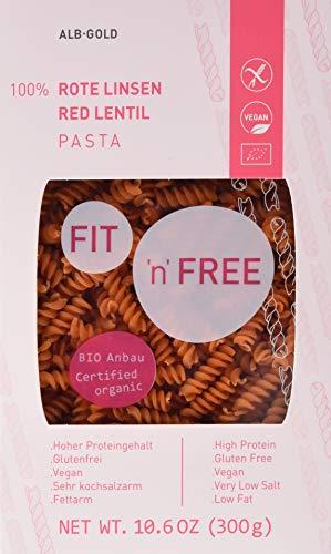 FIT 'n' FREE Bio Rote Linsen Fusilli (8 x 300g) (Bio-linsen)