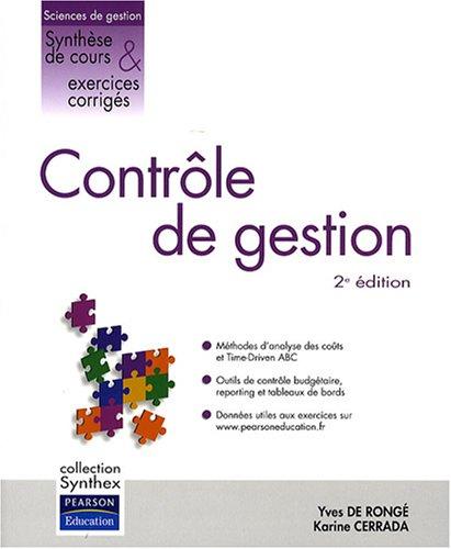 Contrôle de Gestion 2 ed. Synthex par Yves de Rongé, Karine Cerrada