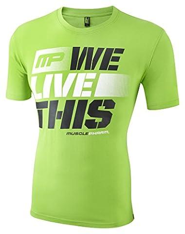 Musclepharm Men's 411 Crew Neck T-Shirt - Green, Large