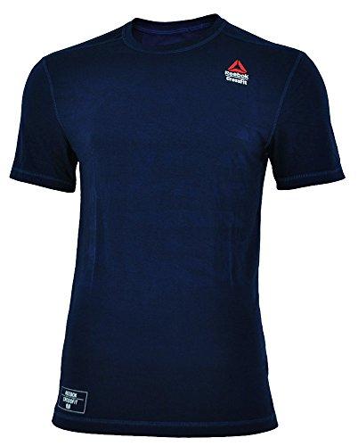 Reebok RCF Burnout Tee Solid CrossFit Herren Speedwick Anti-Mikrobiell T-Shirt Navy, Grösse:M (Crossfit Reeboks)