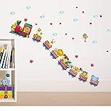 IDECORATE Adesivo da Parete per Bambini,Adesivi Murali Rimovibili Cartoon Animal Train Nuvola Palloncino Adesivi Scuola Materna Aula Camera da Letto Decorazione da Parete Regalo per Bambini