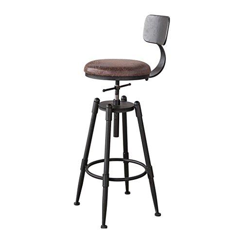 Buena silla Guo shop- Simple, hierro forjado, cojín de cuero artificial con respaldo Bar Creative High Chair Silla Europea Vintage taburete alto 68-90 Cm