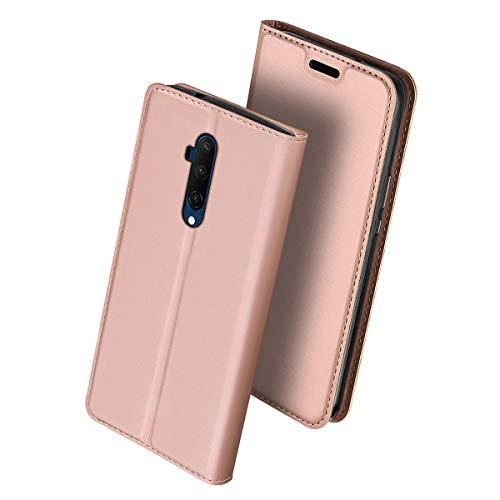 Scheam Cover Compatibile per OnePlus 7T PRO, Retro Design Flip Caso in PU Pelle Premium Portafoglio [Slot per Schede] [Chiusura Magnetica] Custodia per OnePlus 7T PRO - Oro Rosa
