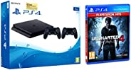 Sony PS4 1TB Slim Console with Additional Dualshock Controller (Black)&Uncharted 4: A Thief's End Play