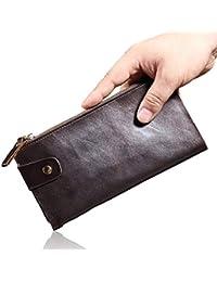32ad091c0 Y-LJ Bag Monederos Hombre pequeño Titular de la Tarjeta de crédito Monedero  de Cuero Genuino Bolso de Mano con…