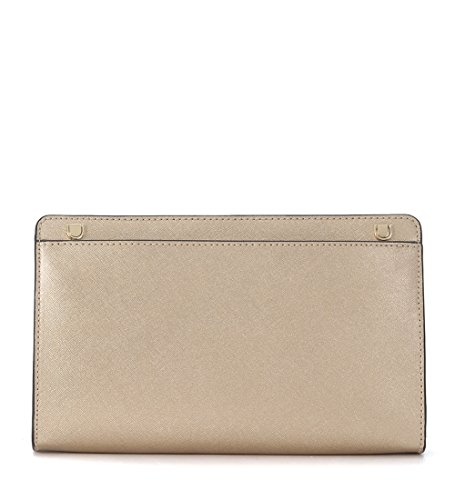 MICHAEL by Michael Kors Jet Set Travel Pale Gold Large Crossbody Clutch Gold