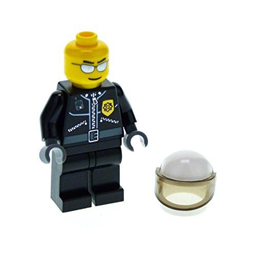 Bausteine gebraucht 1 x Lego System Figur Mann Polizist Town City Torso schwarz Jacke Reißverschluss Polizei Marke Gold Funkgerät Brille Silber Motorrad Helm cty027