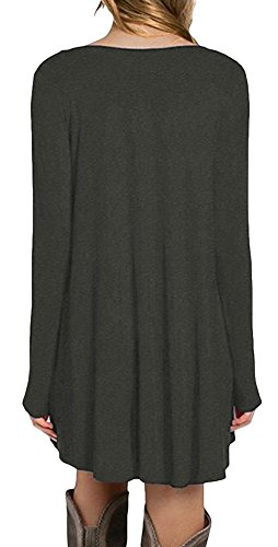 La Vogue Robe T-Shirt Tunique Manche Longue Casual Loose Classique Femme Vert