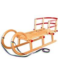 2105 Hörnerschlitten luge pliable luge rodel dossier pour luge en bois, longueur :  110 cm