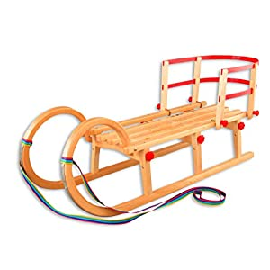 Erst-Holz 21-110-Lehne Hörnerschlitten + Lehne 110 cm Klappschlitten Rodelschlitten