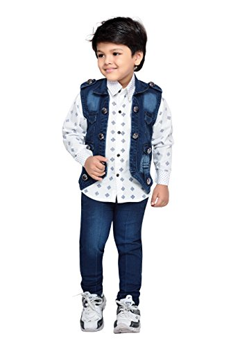 AJ Deziens Kids Party Wear Shirt Jeans and Jacket Clothing Set for...