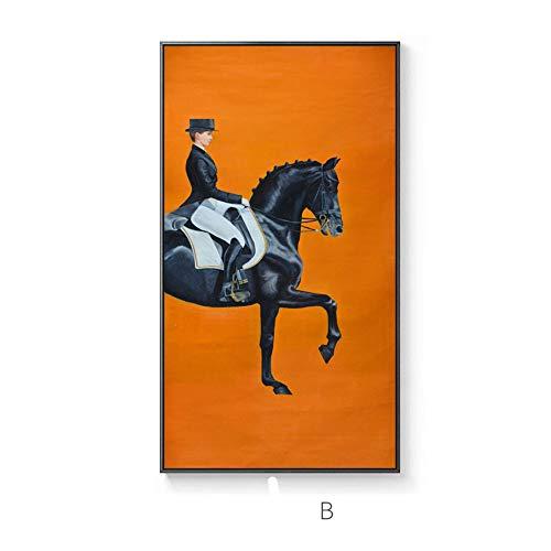 Nordic grand cheval noir peinture décorative peinture américaine couloir couloir cheval version verticale chevalier français Hermes peinture murale orange, B, 40x80CM