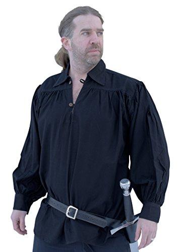 Battle-Merchant Ritterhemd, schwarz - Mittelalter-Hemd LARP Größe XL (Mittelalterliche Theater Kostüm)