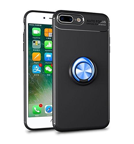 iPhone 8 Plus Hülle , iPhone 7 Plus Handyhülle mit Ring Kickstand - Mosoris Premium Silikon Shell mit 360 Grad Drehbarer Ständer und Handyhalterung Auto Magnet Ring , Stoßfest Rüstung Schutzhülle Bumper Tasche Case Cover für iPhone 7 Plus / 8 Plus,Schwarz + Blau