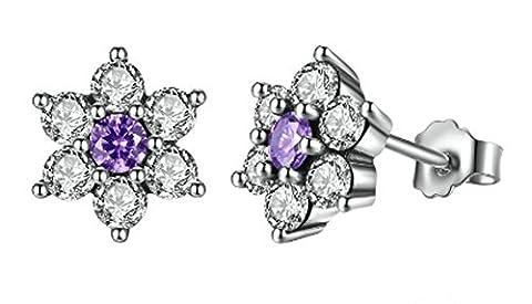 SaySure- 925 Sterling Silver Purple & Clear CZ Earrings
