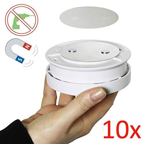 10er Set Bioledex Magnet Pad für Rauchmelder - Montage ohne Bohren mit Klebepad