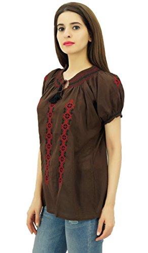 ... Casual Tunika Frauen Short Sleeve Top tragen Kurta gestickte aus Baumwoll  Voile Braun ...
