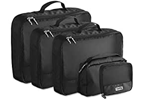 Travel Tidy Packing Cubes with Mesh Panels – 5 Pack – Includes 1 Large, 2 Medium and 1 Small Cube Plus 1 Toiletry Bag with Hanger Perfect for Suitcases, Backpacks and Carry On Bags